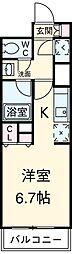 東急田園都市線 駒沢大学駅 徒歩2分の賃貸マンション 6階ワンルームの間取り