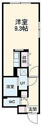 名古屋市営鶴舞線 浄心駅 徒歩4分の賃貸マンション 4階ワンルームの間取り