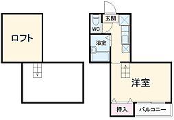 福岡市地下鉄七隈線 別府駅 徒歩7分の賃貸アパート 1階1Kの間取り