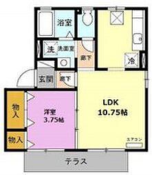 JR東海道本線 豊橋駅 バス15分 外神下車 徒歩2分の賃貸アパート 1階ワンルームの間取り