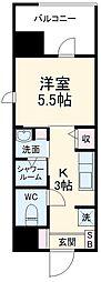 MODERN PALAZZO 西新SUR 5階1Kの間取り