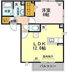 JR東海道本線 豊橋駅 バス20分 三菱レイヨン下車 徒歩4分の賃貸アパート 1階1LDKの間取り