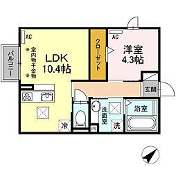 JR飯田線 下地駅 徒歩25分の賃貸アパート 1階1LDKの間取り