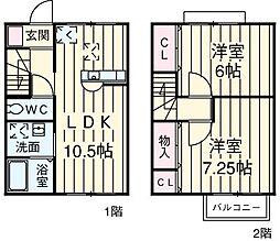 JR高崎線 行田駅 徒歩10分の賃貸テラスハウス 1階2LDKの間取り