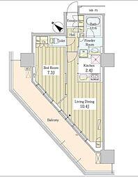JR総武線 東中野駅 徒歩1分の賃貸マンション 20階1LDKの間取り
