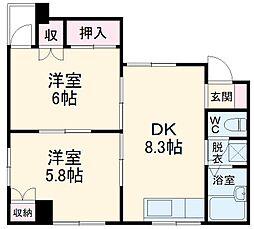 JR高崎線 北本駅 徒歩20分の賃貸マンション 5階2DKの間取り