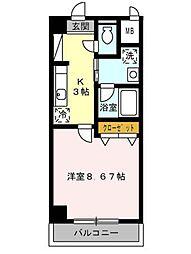 名古屋市営名城線 名古屋大学駅 徒歩16分の賃貸マンション 2階1Kの間取り