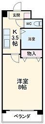 名古屋市営東山線 一社駅 徒歩4分の賃貸マンション 1階1Kの間取り