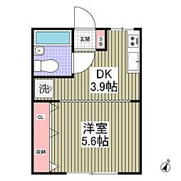 JR高崎線 北本駅 徒歩11分の賃貸アパート 1階1DKの間取り