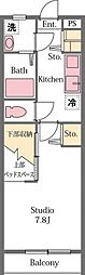 JR高崎線 北鴻巣駅 徒歩15分の賃貸アパート 2階1Kの間取り