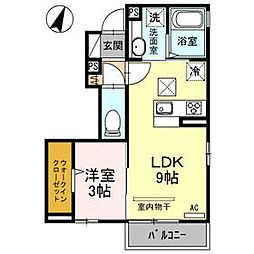 JR高崎線 北本駅 徒歩16分の賃貸アパート 1階1LDKの間取り