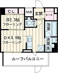 京王線 千歳烏山駅 徒歩10分の賃貸マンション 5階1DKの間取り