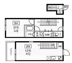 JR山手線 目白駅 徒歩6分の賃貸マンション 2階1LDKの間取り