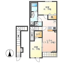 東葉高速鉄道 村上駅 4kmの賃貸アパート 2階2LDKの間取り