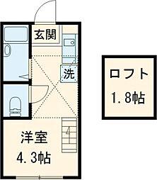 JR中央線 国分寺駅 徒歩12分の賃貸アパート 2階ワンルームの間取り