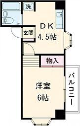 JR中央線 国分寺駅 徒歩5分の賃貸マンション 2階1Kの間取り