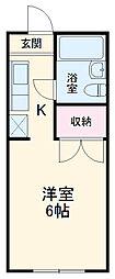 京王線 高幡不動駅 徒歩11分の賃貸アパート 1階ワンルームの間取り