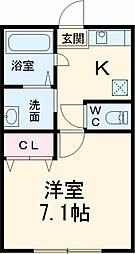 AZEST-RENT国分寺2 2階1Kの間取り