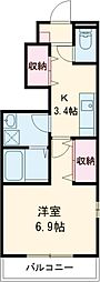 ベルシティ東元町 1階1Kの間取り