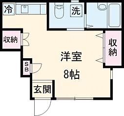 小田急小田原線 千歳船橋駅 徒歩6分の賃貸アパート 1階ワンルームの間取り