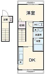 小田急江ノ島線 桜ヶ丘駅 徒歩13分の賃貸アパート 2階1DKの間取り