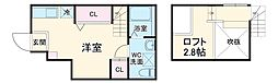 名古屋市営東山線 池下駅 徒歩5分の賃貸アパート 1階ワンルームの間取り