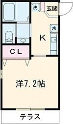 京王線 百草園駅 徒歩3分の賃貸アパート 1階1Kの間取り