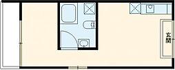東急田園都市線 用賀駅 徒歩6分の賃貸マンション 4階1Kの間取り