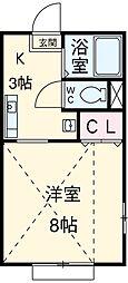 JR高崎線 行田駅 徒歩6分の賃貸マンション 3階1Kの間取り