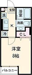 東急田園都市線 桜新町駅 徒歩5分の賃貸アパート 2階1Kの間取り