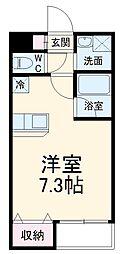 小田急小田原線 柿生駅 徒歩7分の賃貸マンション 2階1Kの間取り
