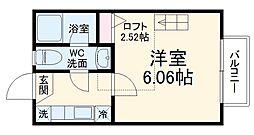 小田急小田原線 読売ランド前駅 徒歩12分の賃貸アパート 2階1Kの間取り