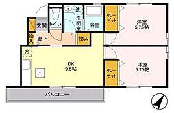 サン・マーレ2番館 1階2DKの間取り