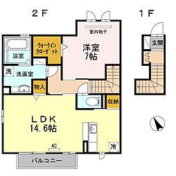 JR東海道本線 西岡崎駅 徒歩9分の賃貸アパート 2階1LDKの間取り