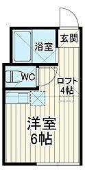 JR横須賀線 田浦駅 徒歩1分の賃貸アパート 1階ワンルームの間取り