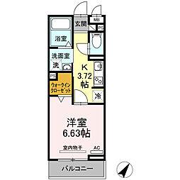 JR東海道本線 三河安城駅 徒歩12分の賃貸アパート 2階1Kの間取り