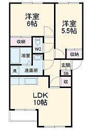 JR成田線 成田駅 バス23分 富里郵便局下車 徒歩5分の賃貸アパート 1階2LDKの間取り