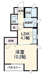 JR横浜線 相原駅 バス3分 相原十字路下車 徒歩5分の賃貸アパート 1階1Kの間取り