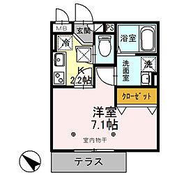 JR東北本線 久喜駅 徒歩2分の賃貸アパート 1階1Kの間取り