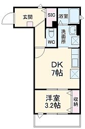JR埼京線 北与野駅 徒歩6分の賃貸アパート 2階1DKの間取り