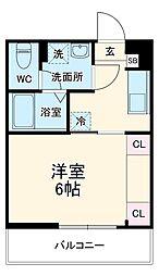 JR埼京線 与野本町駅 徒歩7分の賃貸マンション 3階1Kの間取り
