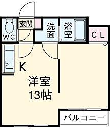 近鉄名古屋線 千代崎駅 徒歩23分の賃貸マンション 3階ワンルームの間取り