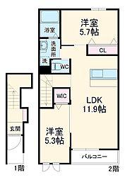フローリッシュII 2階2LDKの間取り
