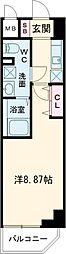西武新宿線 高田馬場駅 徒歩4分の賃貸マンション 5階1Kの間取り