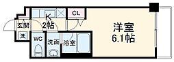 エステムコート京都西院 3階1Kの間取り