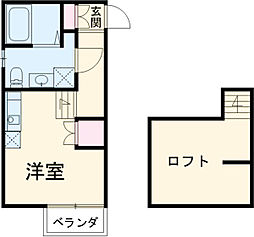 名鉄常滑線 大同町駅 徒歩8分の賃貸アパート 2階1Kの間取り