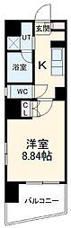 名古屋市営東山線 東山公園駅 徒歩4分の賃貸マンション 2階1Kの間取り
