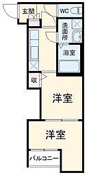 西鉄天神大牟田線 井尻駅 徒歩10分の賃貸アパート 1階2Kの間取り