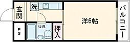 大阪モノレール彩都線 豊川駅 徒歩36分の賃貸マンション 2階1Kの間取り