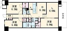 大阪モノレール彩都線 彩都西駅 徒歩9分の賃貸マンション 1階3LDKの間取り